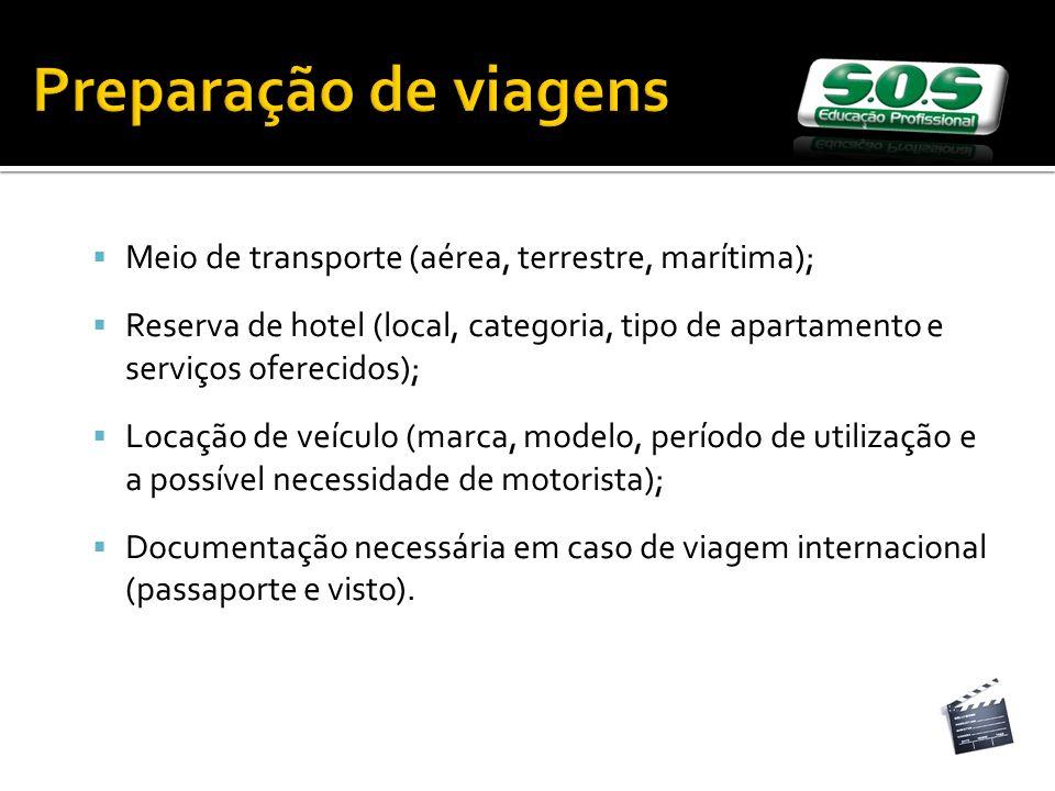 Preparação de viagens Meio de transporte (aérea, terrestre, marítima);