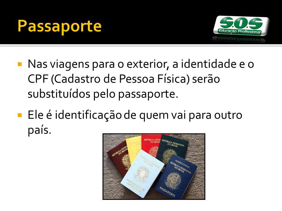 Passaporte Nas viagens para o exterior, a identidade e o CPF (Cadastro de Pessoa Física) serão substituídos pelo passaporte.