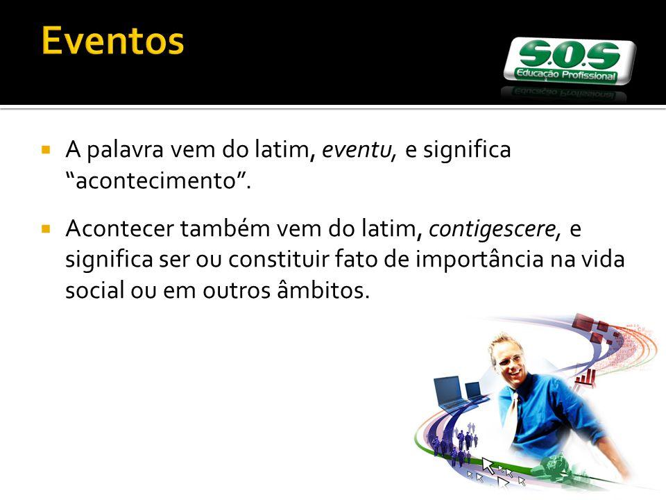 Eventos A palavra vem do latim, eventu, e significa acontecimento .