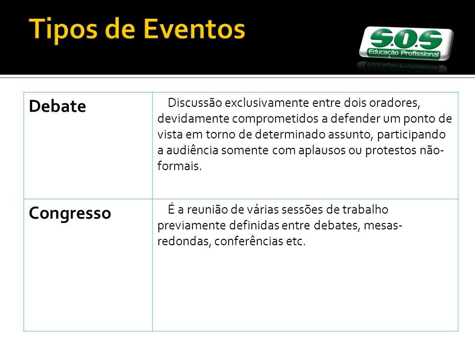 Tipos de Eventos Debate Congresso