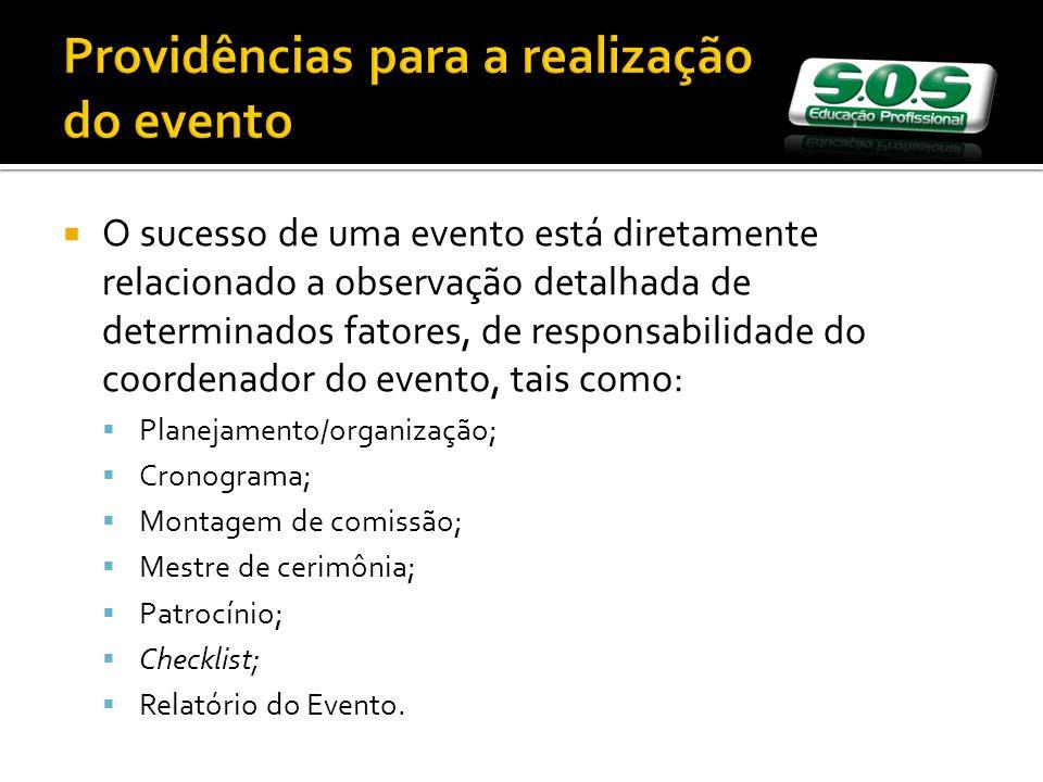 Providências para a realização do evento