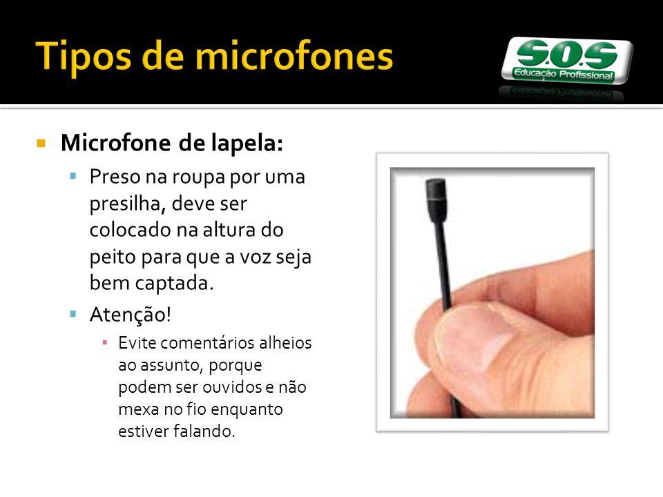 Tipos de microfones Microfone de lapela:
