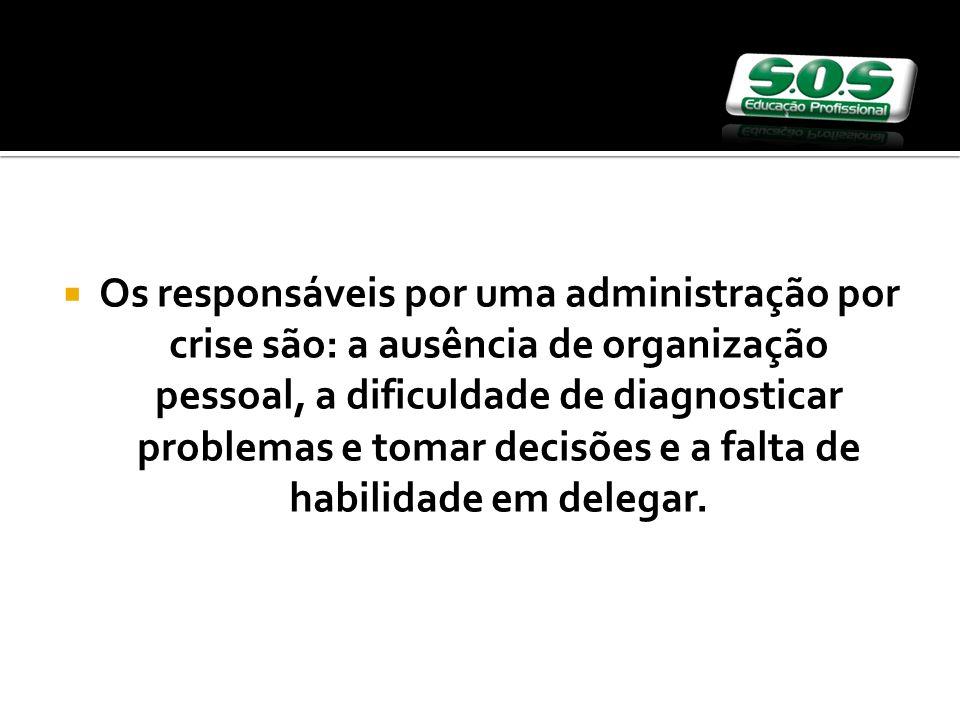 Os responsáveis por uma administração por crise são: a ausência de organização pessoal, a dificuldade de diagnosticar problemas e tomar decisões e a falta de habilidade em delegar.