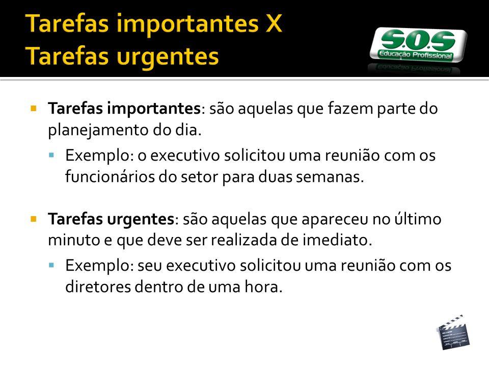 Tarefas importantes X Tarefas urgentes