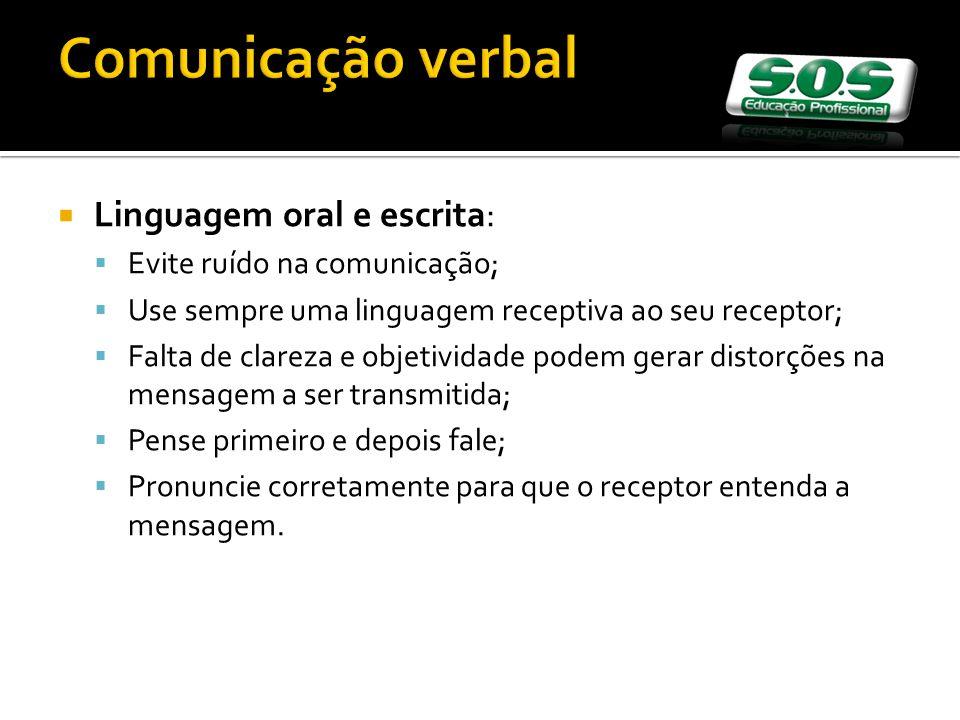 Comunicação verbal Linguagem oral e escrita: