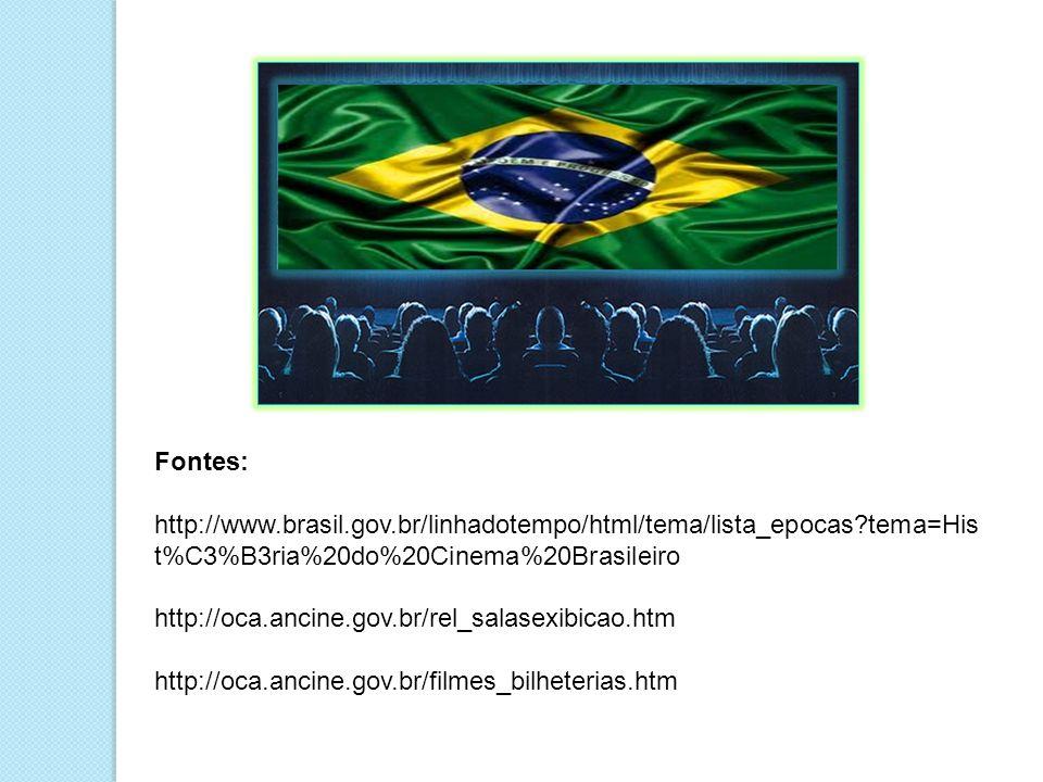 Fontes: http://www.brasil.gov.br/linhadotempo/html/tema/lista_epocas tema=Hist%C3%B3ria%20do%20Cinema%20Brasileiro.