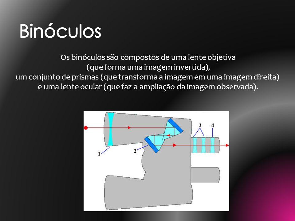 Binóculos Os binóculos são compostos de uma lente objetiva