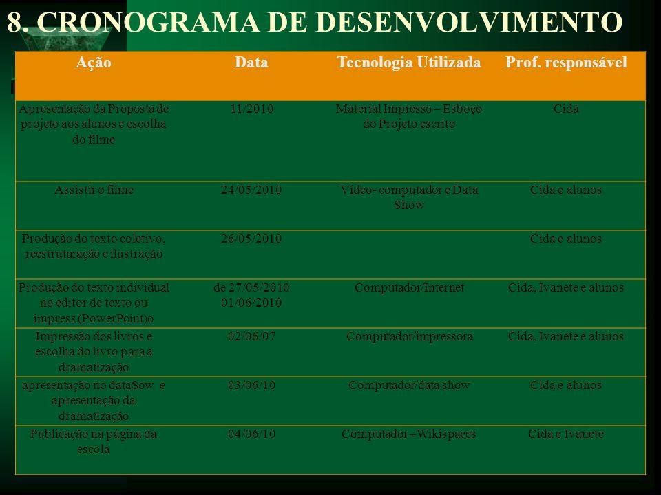 8. CRONOGRAMA DE DESENVOLVIMENTO