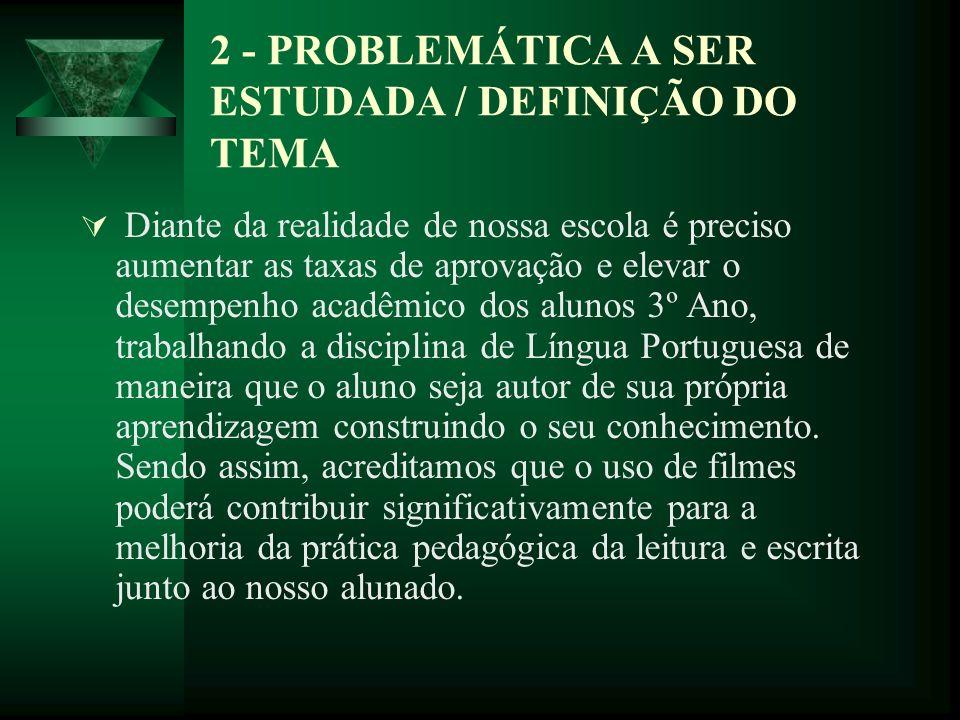 2 - PROBLEMÁTICA A SER ESTUDADA / DEFINIÇÃO DO TEMA