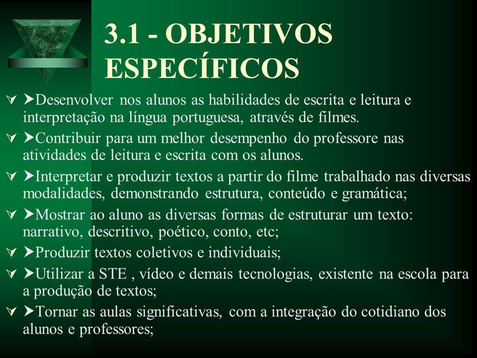 3.1 - OBJETIVOS ESPECÍFICOS