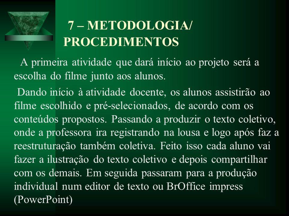 7 – METODOLOGIA/ PROCEDIMENTOS
