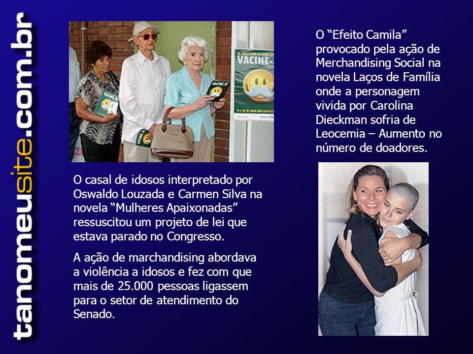O Efeito Camila provocado pela ação de Merchandising Social na novela Laços de Família onde a personagem vivida por Carolina Dieckman sofria de Leocemia – Aumento no número de doadores.
