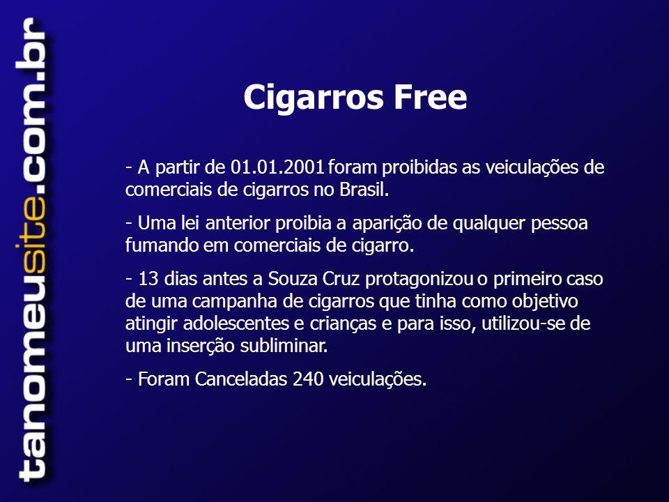 Cigarros Free A partir de 01.01.2001 foram proibidas as veiculações de comerciais de cigarros no Brasil.