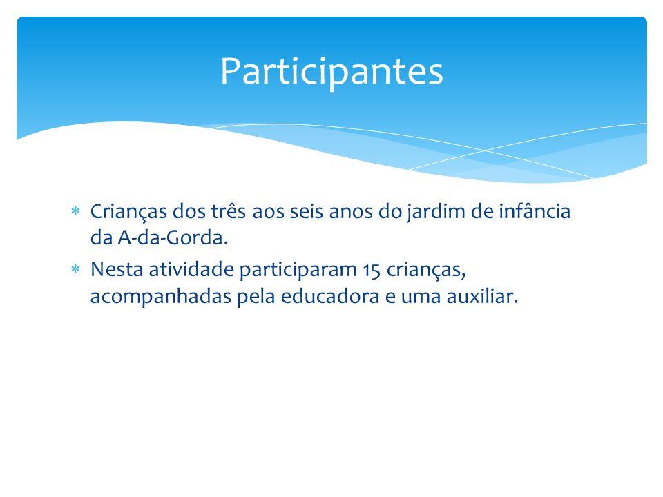 Participantes Crianças dos três aos seis anos do jardim de infância da A-da-Gorda.