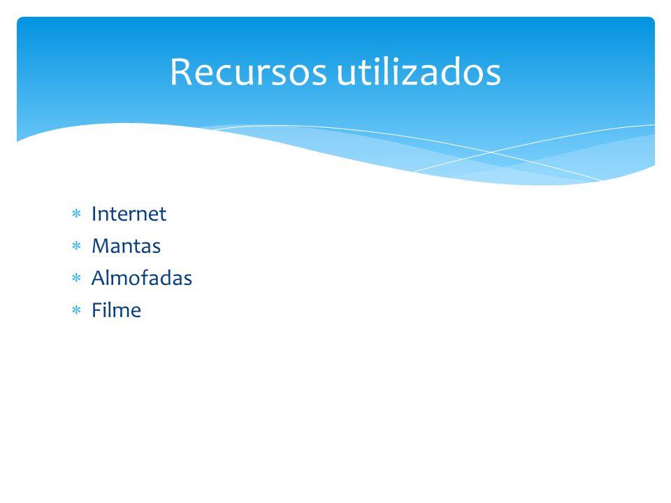 Recursos utilizados Internet Mantas Almofadas Filme