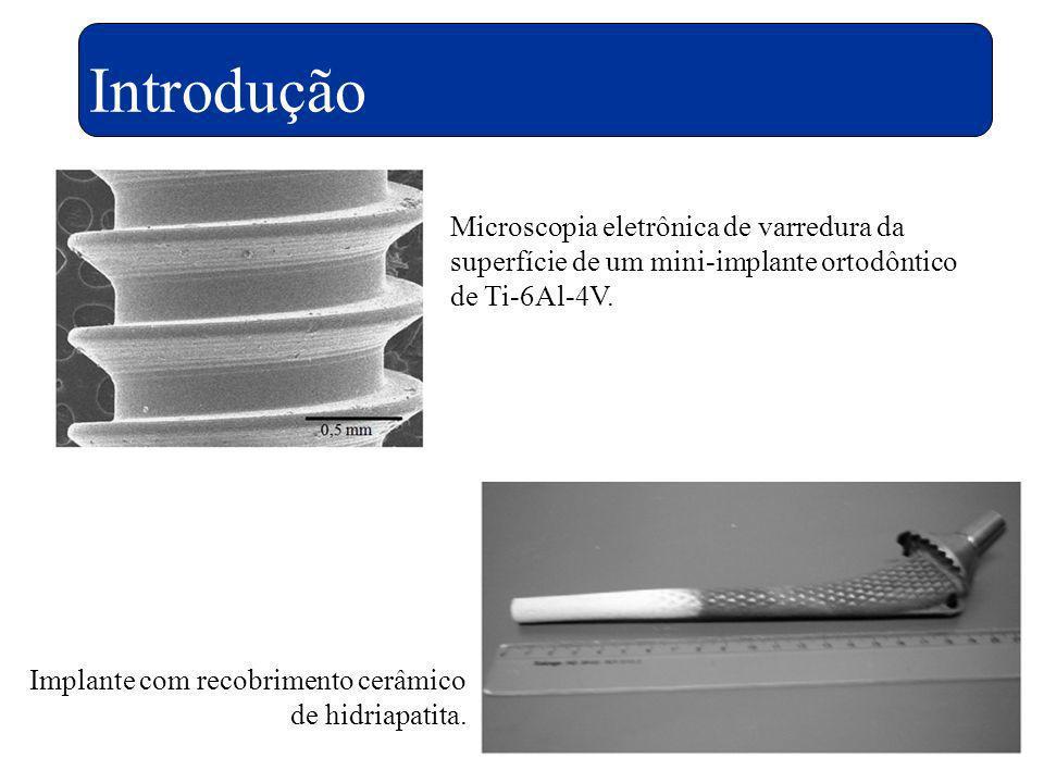 Introdução Microscopia eletrônica de varredura da superfície de um mini-implante ortodôntico de Ti-6Al-4V.