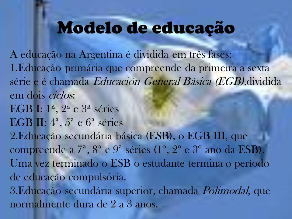 Modelo de educação A educação na Argentina é dividida em três fases: