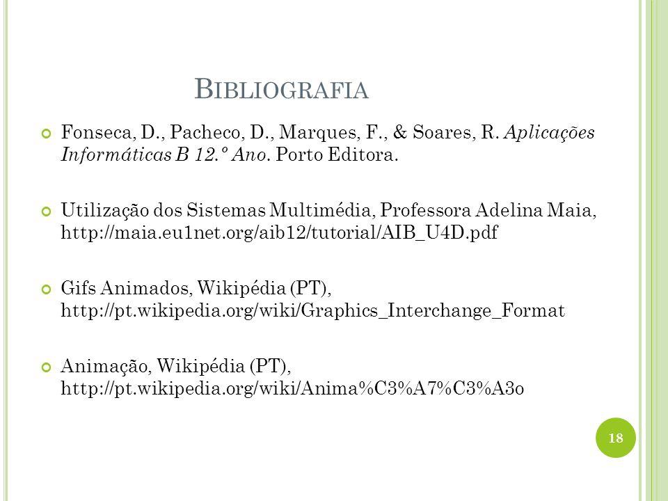 Bibliografia Fonseca, D., Pacheco, D., Marques, F., & Soares, R. Aplicações Informáticas B 12.º Ano. Porto Editora.