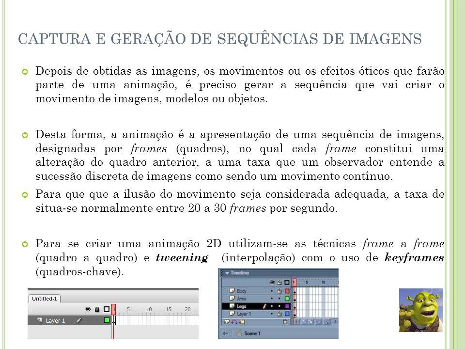 captura e geração de sequências de imagens