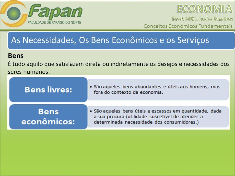 As Necessidades, Os Bens Econômicos e os Serviços