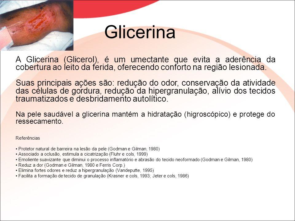 Glicerina A Glicerina (Glicerol), é um umectante que evita a aderência da cobertura ao leito da ferida, oferecendo conforto na região lesionada.