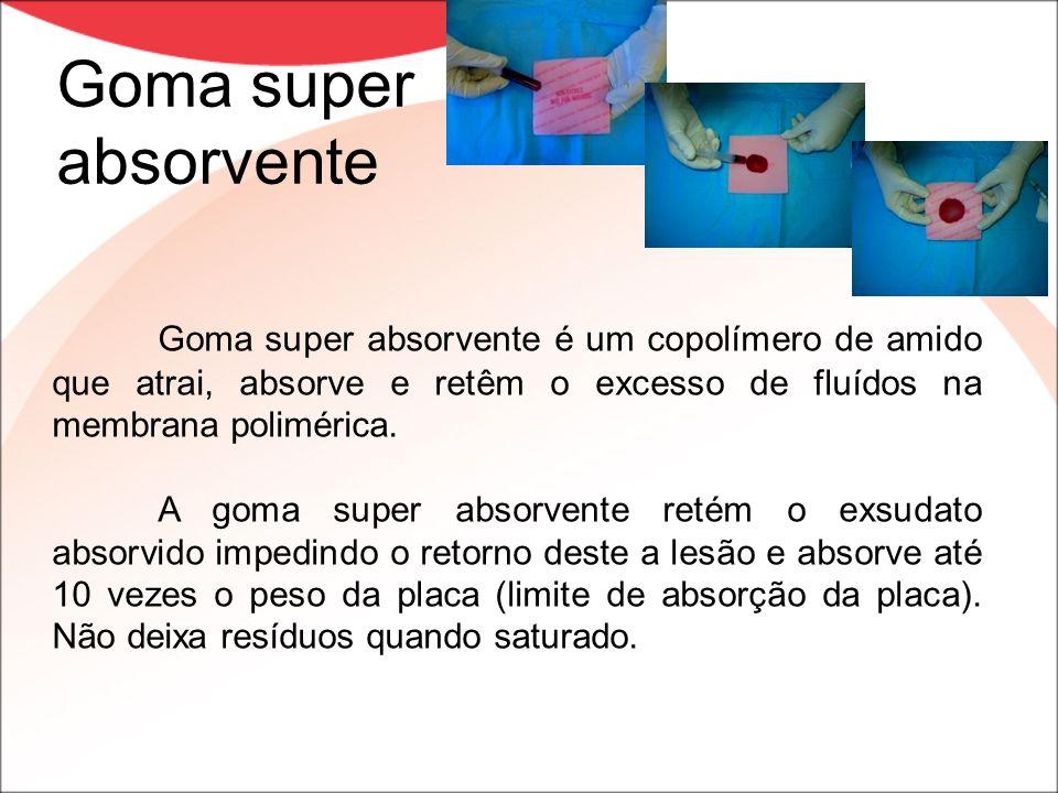 Goma super absorvente Goma super absorvente é um copolímero de amido que atrai, absorve e retêm o excesso de fluídos na membrana polimérica.