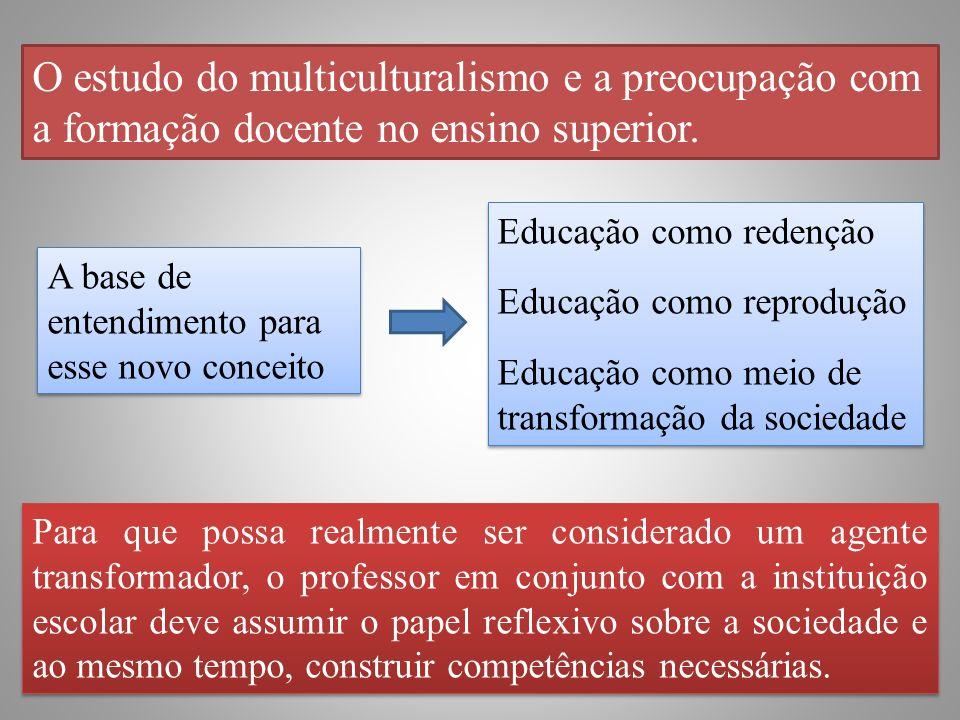 O estudo do multiculturalismo e a preocupação com a formação docente no ensino superior.