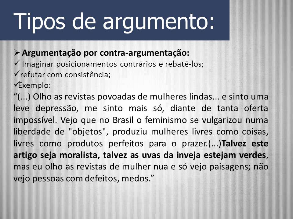 Tipos de argumento: Argumentação por contra-argumentação: Imaginar posicionamentos contrários e rebatê-los;