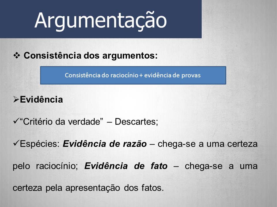 Consistência do raciocínio + evidência de provas