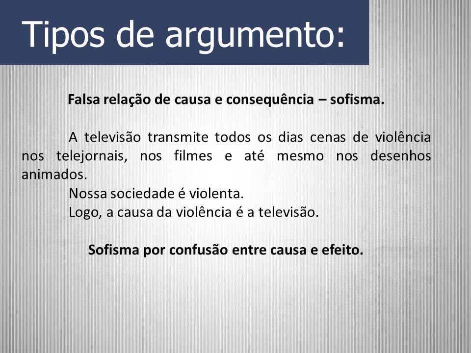 Tipos de argumento: Falsa relação de causa e consequência – sofisma.