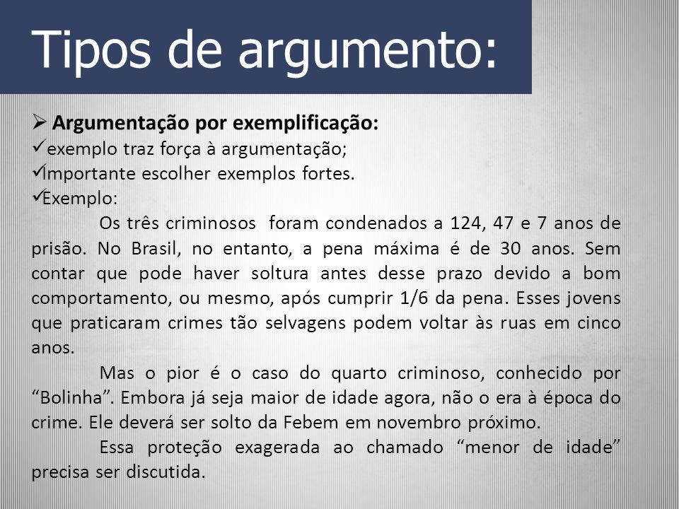 Tipos de argumento: Argumentação por exemplificação: