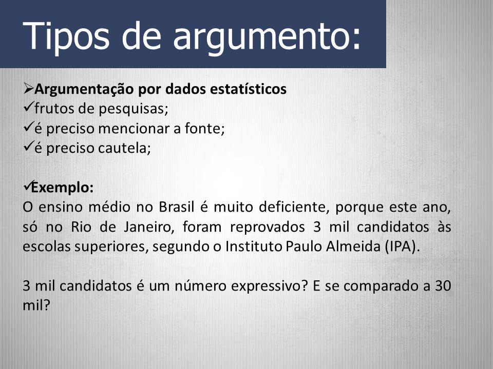 Tipos de argumento: Argumentação por dados estatísticos