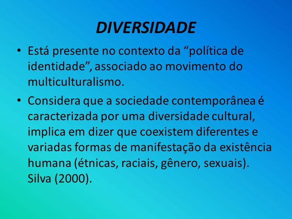DIVERSIDADE Está presente no contexto da política de identidade , associado ao movimento do multiculturalismo.