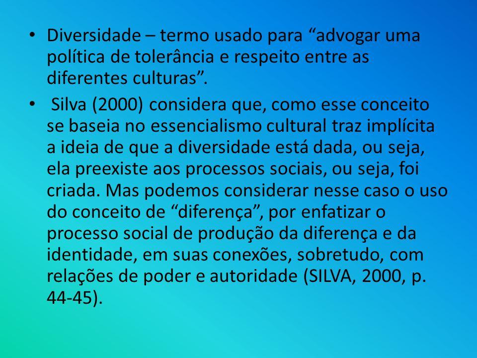 Diversidade – termo usado para advogar uma política de tolerância e respeito entre as diferentes culturas .