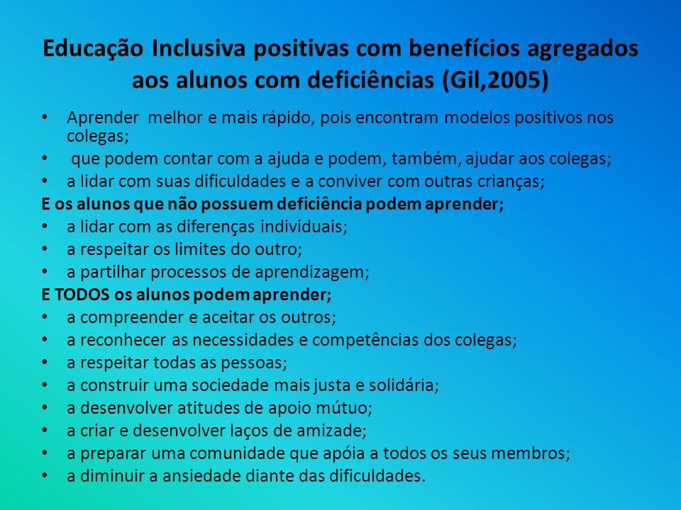 Educação Inclusiva positivas com benefícios agregados aos alunos com deficiências (Gil,2005)