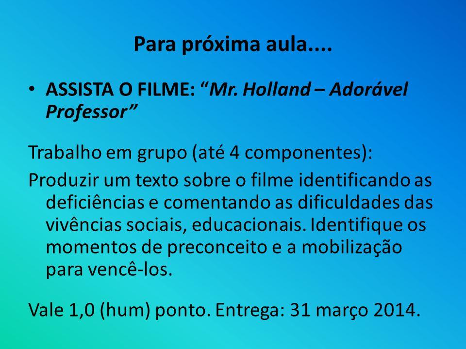 Para próxima aula.... ASSISTA O FILME: Mr. Holland – Adorável Professor Trabalho em grupo (até 4 componentes):