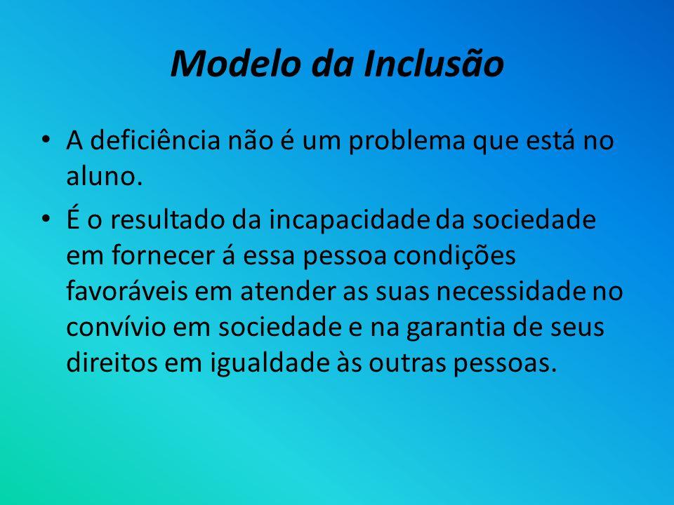 Modelo da Inclusão A deficiência não é um problema que está no aluno.