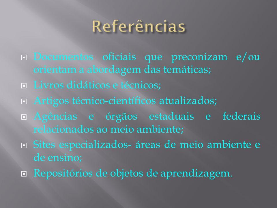 Referências Documentos oficiais que preconizam e/ou orientam a abordagem das temáticas; Livros didáticos e técnicos;