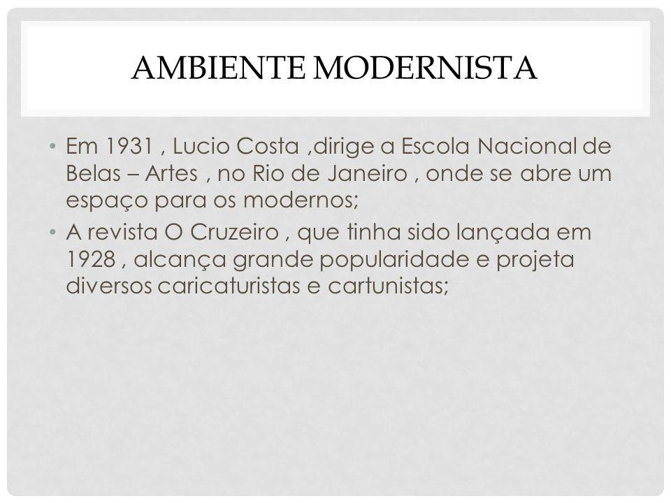 Ambiente modernista Em 1931 , Lucio Costa ,dirige a Escola Nacional de Belas – Artes , no Rio de Janeiro , onde se abre um espaço para os modernos;