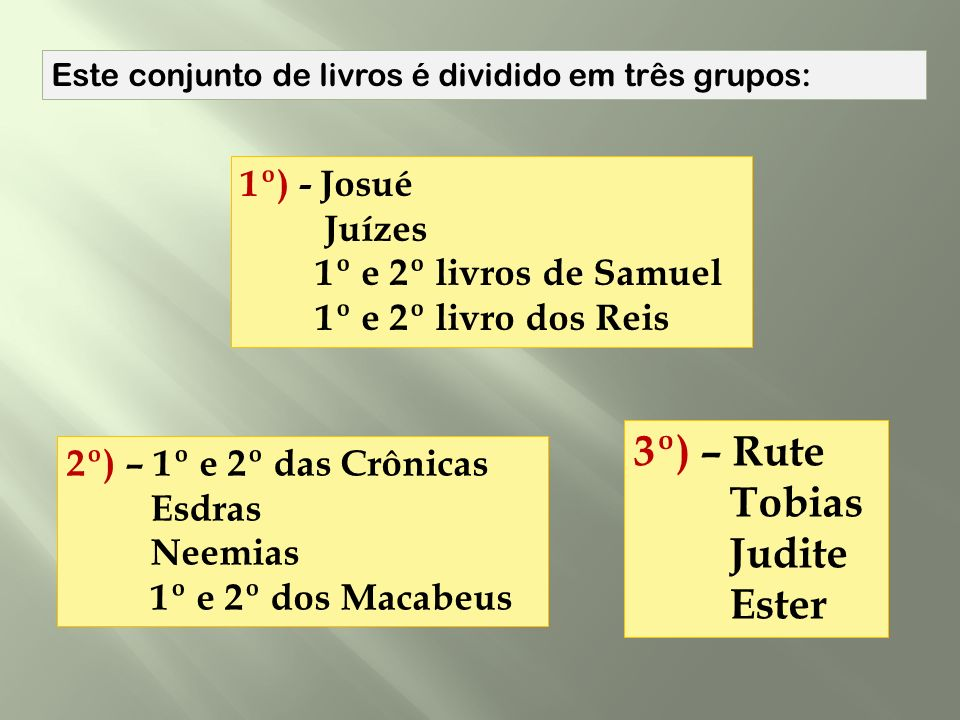 3º) – Rute Tobias Judite Ester 1º) - Josué Juízes