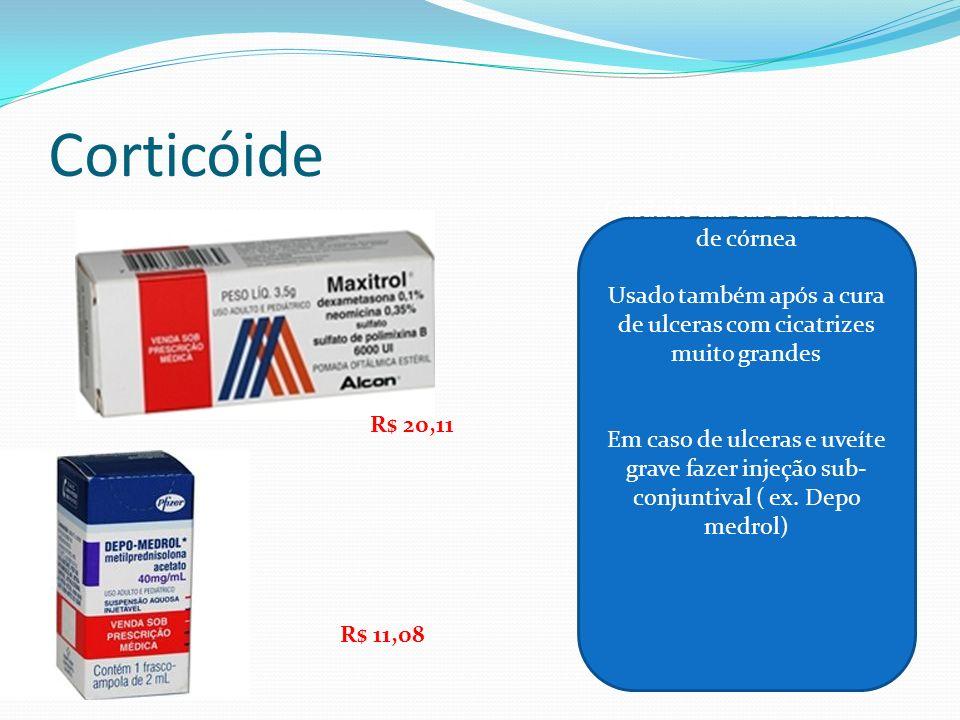 Corticóide Cuidado em caso de ulceras de córnea