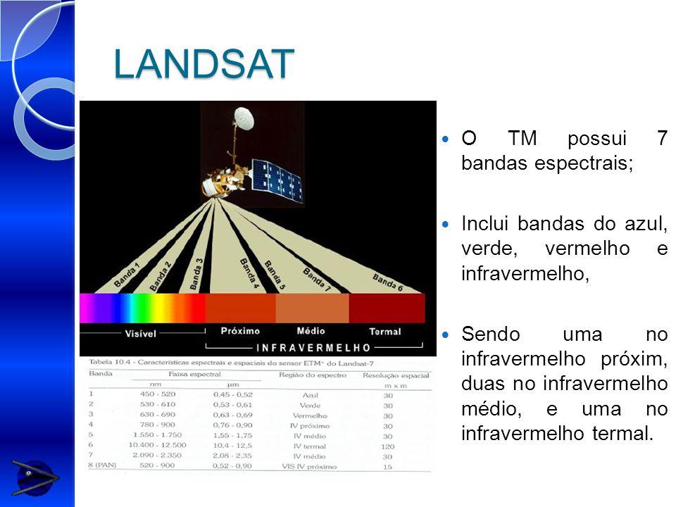 LANDSAT O TM possui 7 bandas espectrais;