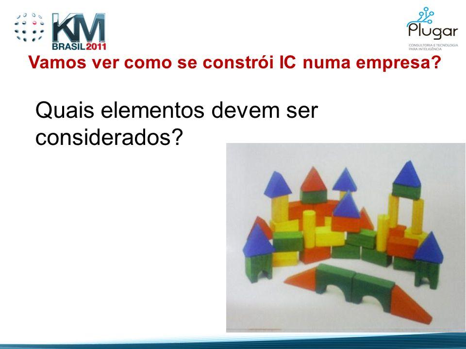 Vamos ver como se constrói IC numa empresa