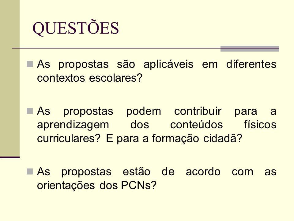 QUESTÕES As propostas são aplicáveis em diferentes contextos escolares