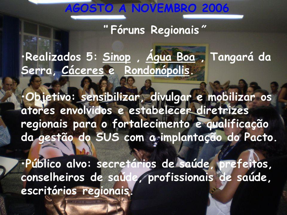 AGOSTO A NOVEMBRO 2006 Fóruns Regionais Realizados 5: Sinop , Água Boa , Tangará da Serra, Cáceres e Rondonópolis.
