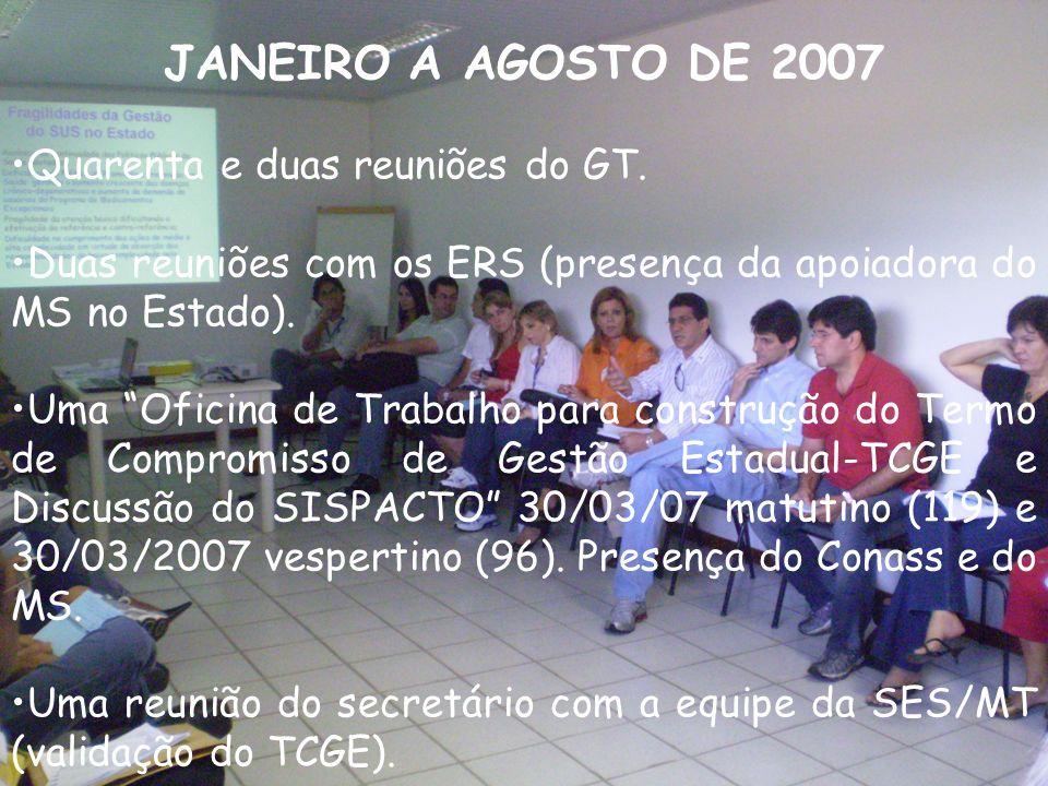 JANEIRO A AGOSTO DE 2007 Quarenta e duas reuniões do GT.