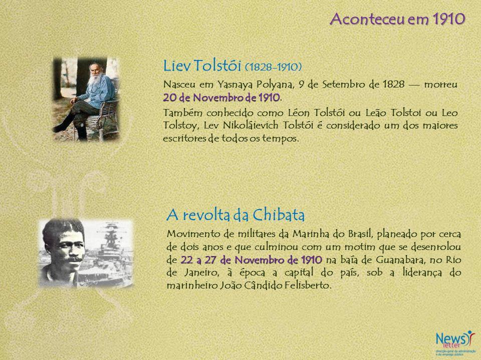 Aconteceu em 1910 Liev Tolstói (1828-1910) A revolta da Chibata