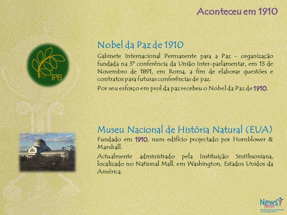 Aconteceu em 1910 Nobel da Paz de 1910