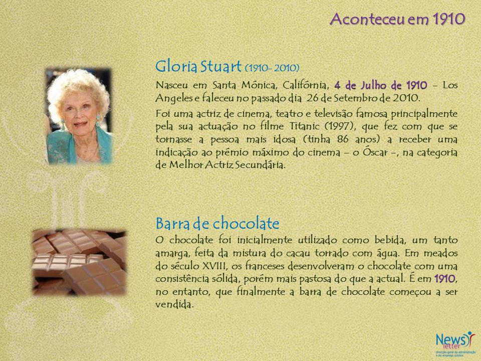Aconteceu em 1910 Gloria Stuart (1910- 2010) Barra de chocolate