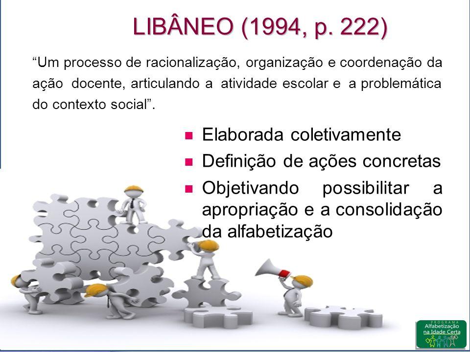 LIBÂNEO (1994, p. 222) Elaborada coletivamente
